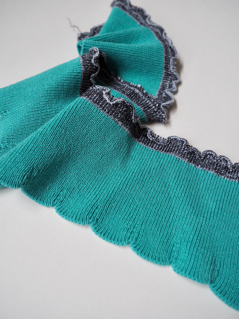 Turquoise and Grey Scallop Ribbed Cuff 7.5cm