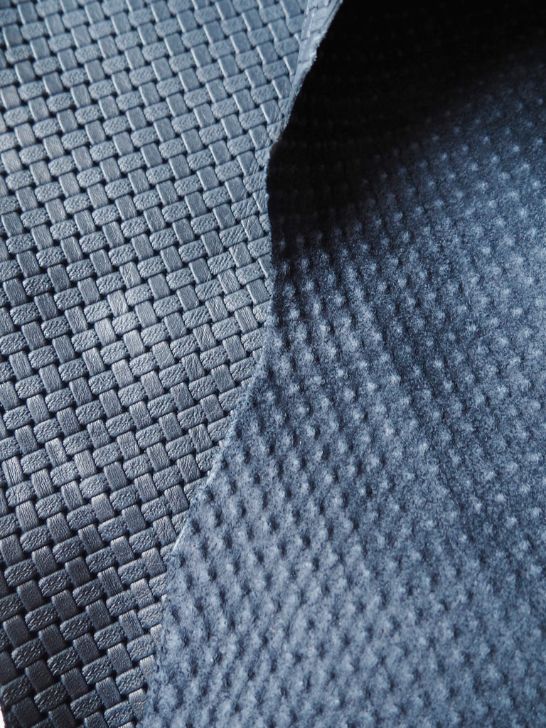 Embossed Navy Basketweave Cow Hide Leather, 100 x 120cm (112)