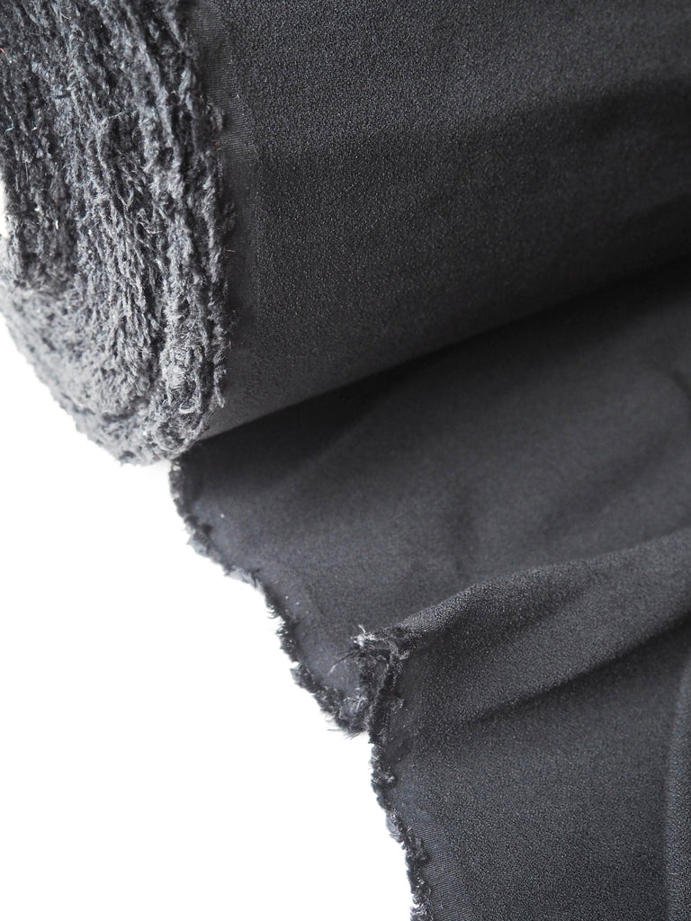 Black Wool Blend Double Faced Stretch Boucle Crepe