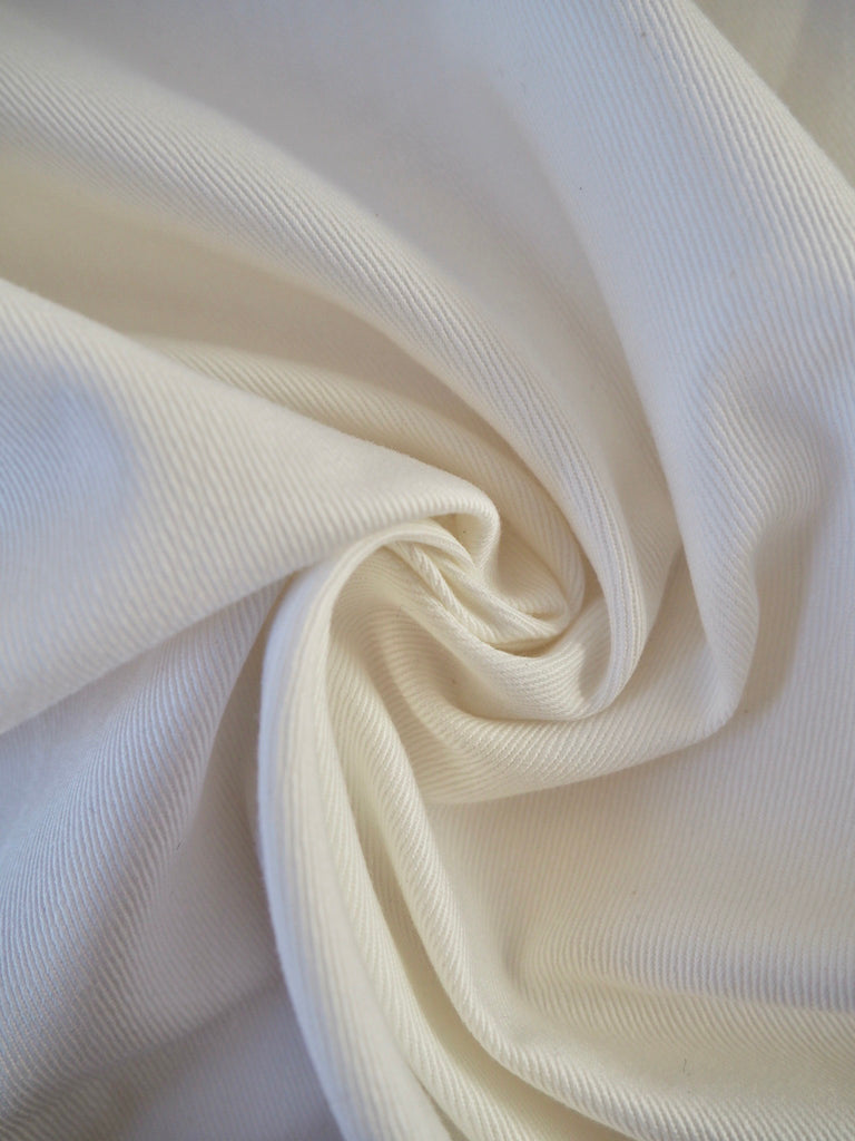 White Cotton Stretch Twill