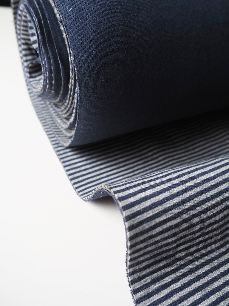 Navy and Grey Stripe Cotton Neoprene