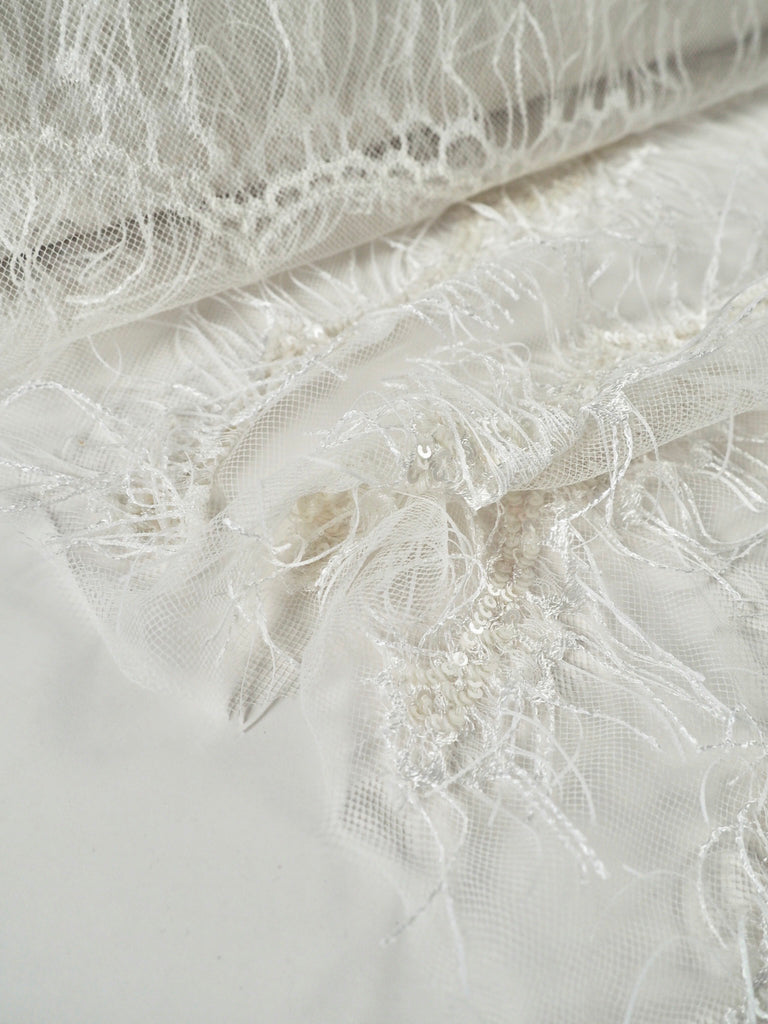 Fauna Ivory Fringed Sequin Scallop Lace