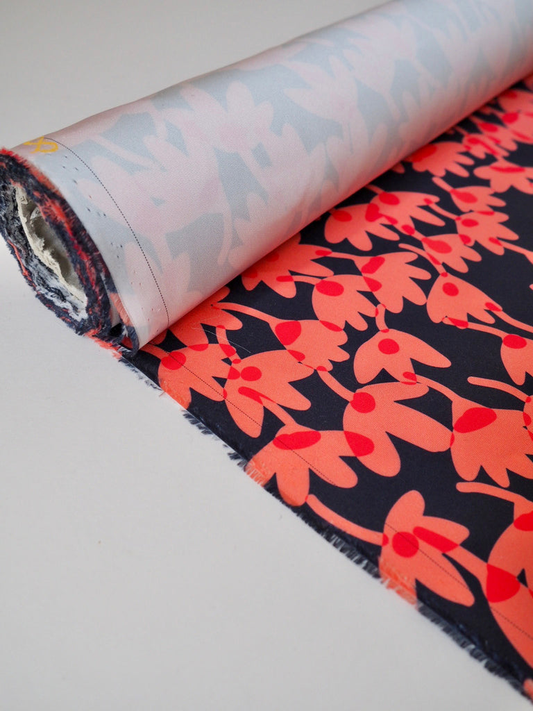 Coral Floral Satin Faille