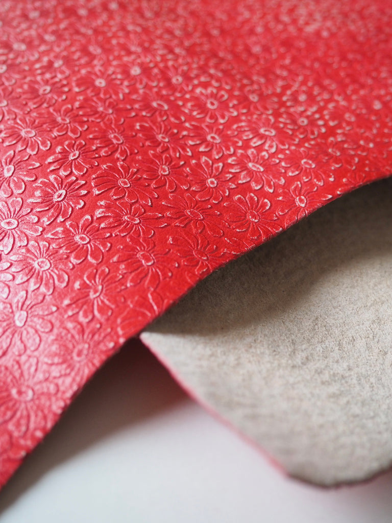 Embossed Red Flower Goat Hide Leather, 40 x 50cm (159)