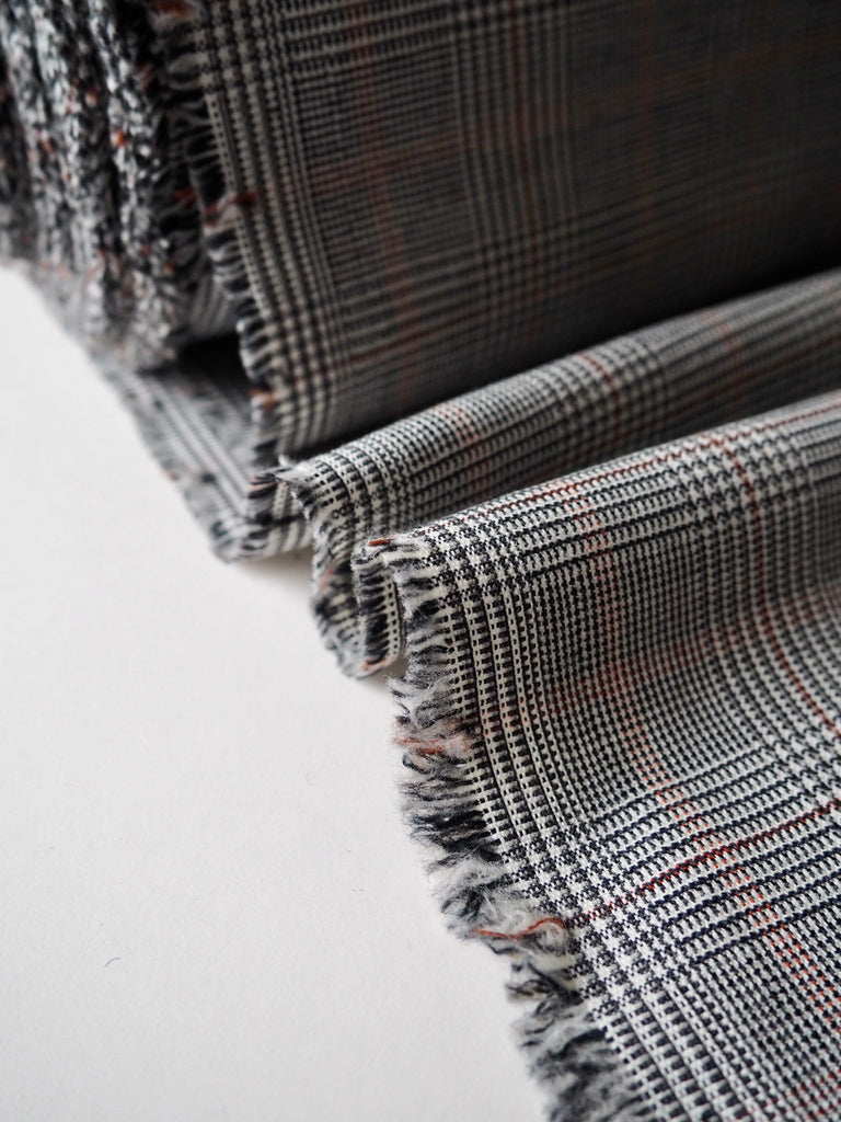 Grey Check Stretch Wool and Cotton Suiting