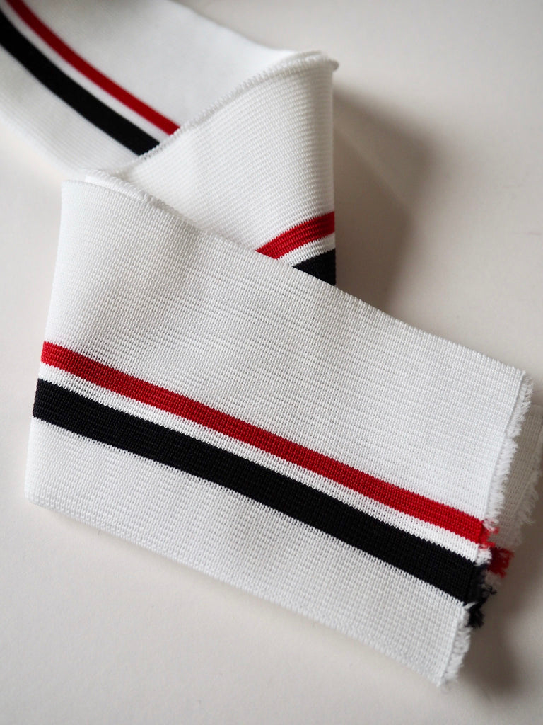 White with Red and Navy Stripes Double Cuff 9cm