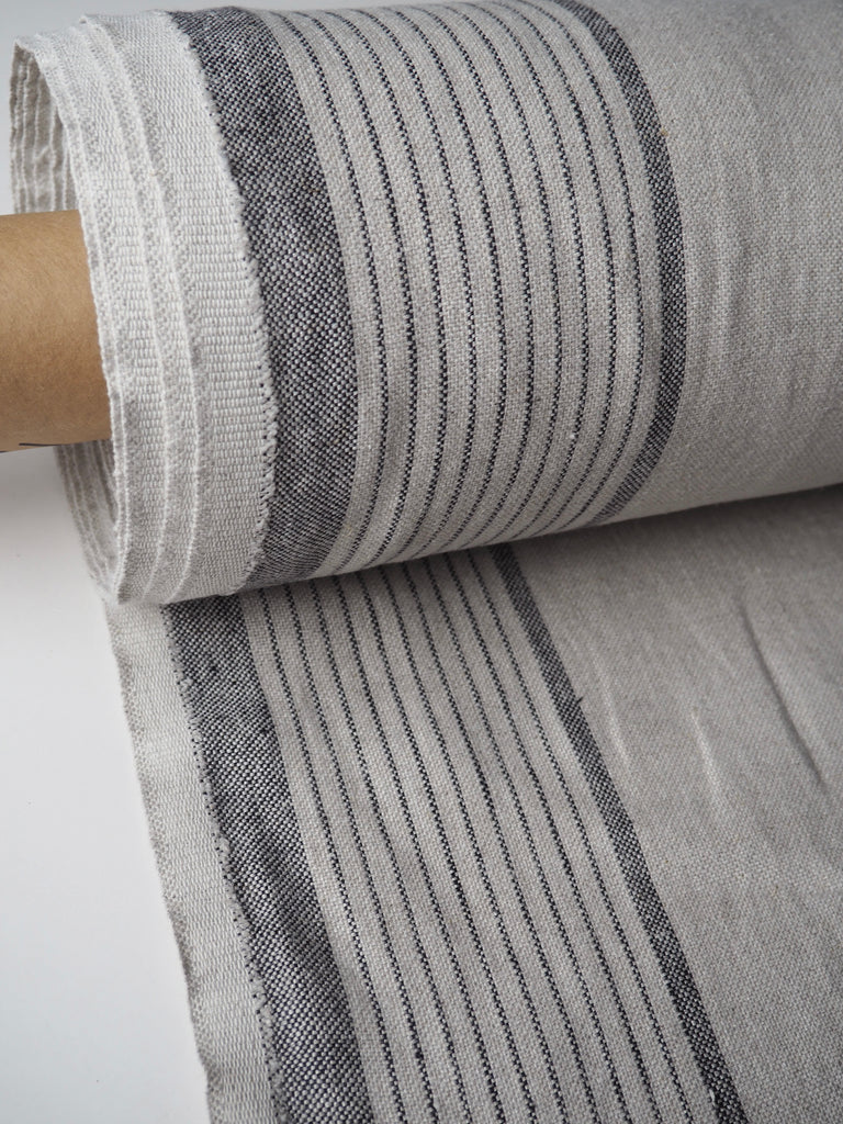 Bude Beige and Black Stripe Heavy Linen