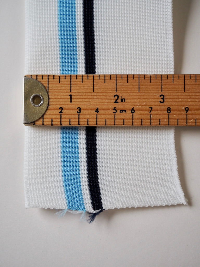 White and Multi Blue Stripe Double Ribbed Cuff 8.5cm
