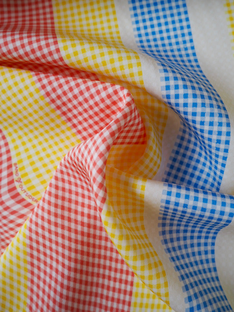 Red and Yellow Gingham Stripe Stretch Viscose