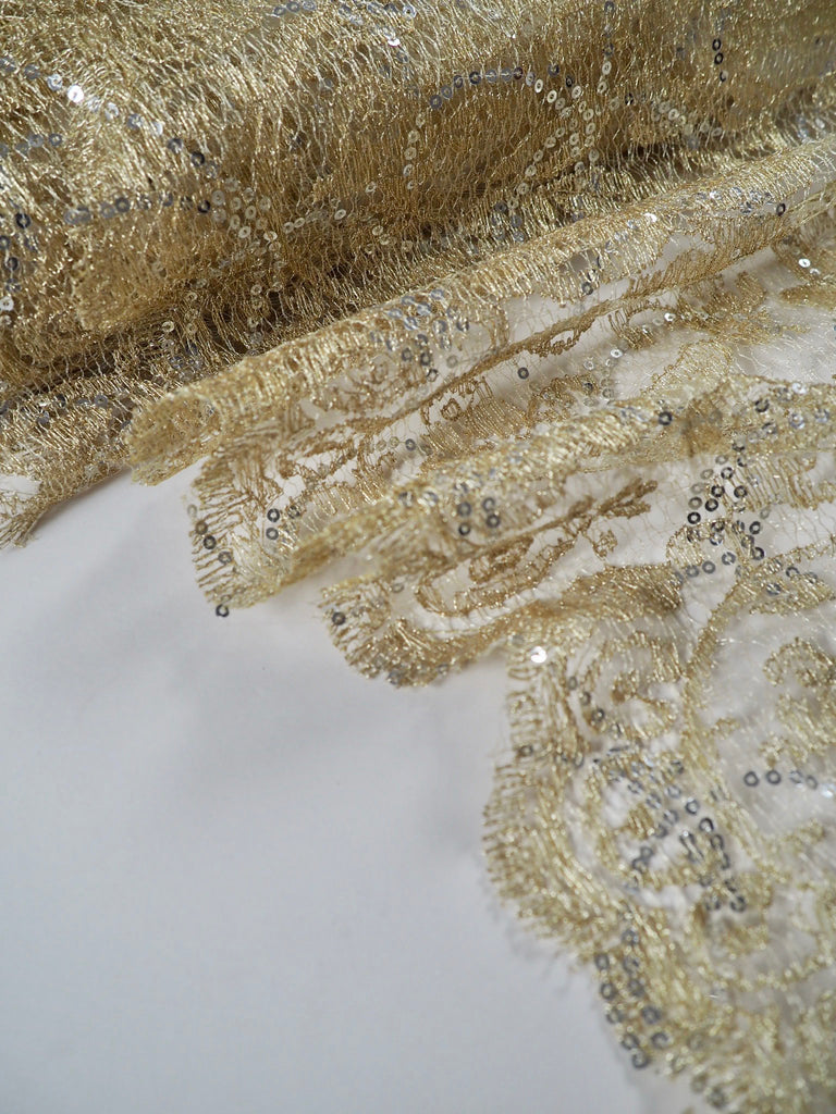 Fortuna Gold Sequinned Scallop Lace
