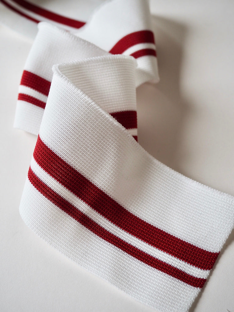 White with Red Stripes Cuff 6.5cm