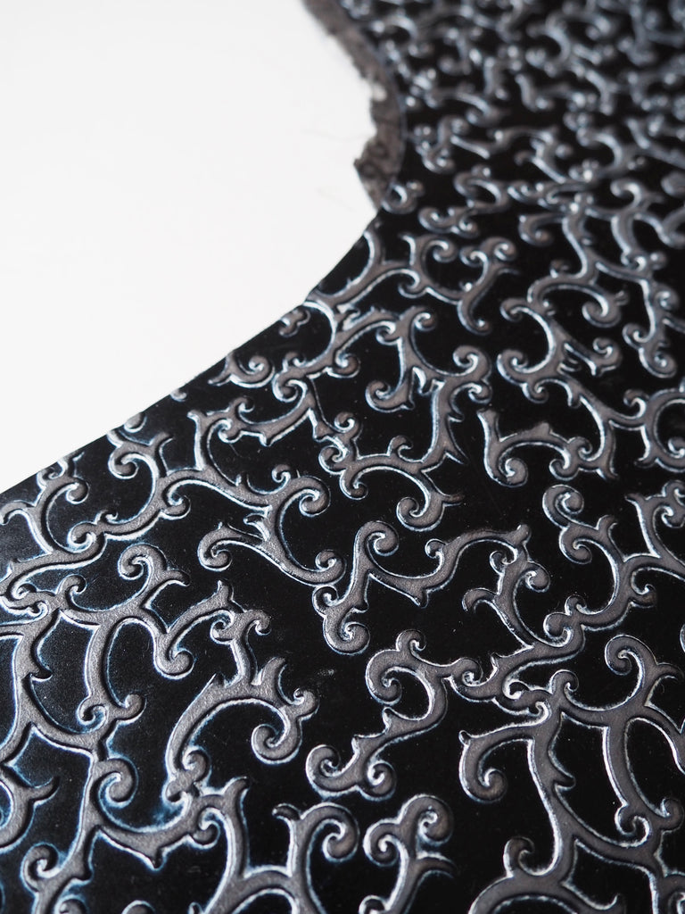 Embossed Black and Silver Ornate Scrolls Cow Hide Leather, 91x79cm (2)