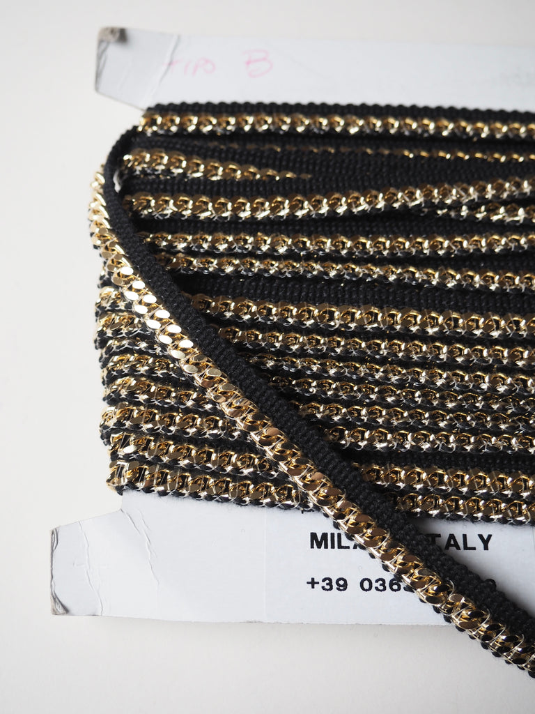 Black and Gold Chain Piping Trim 1.5cm