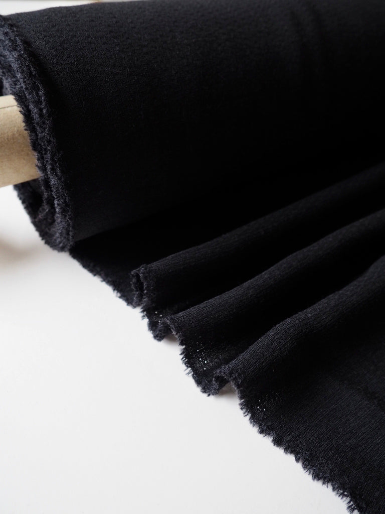 Black Textured Viscose Crepe