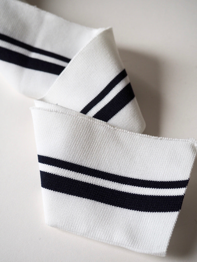 White and Navy Stripe Double Cuff 7cm