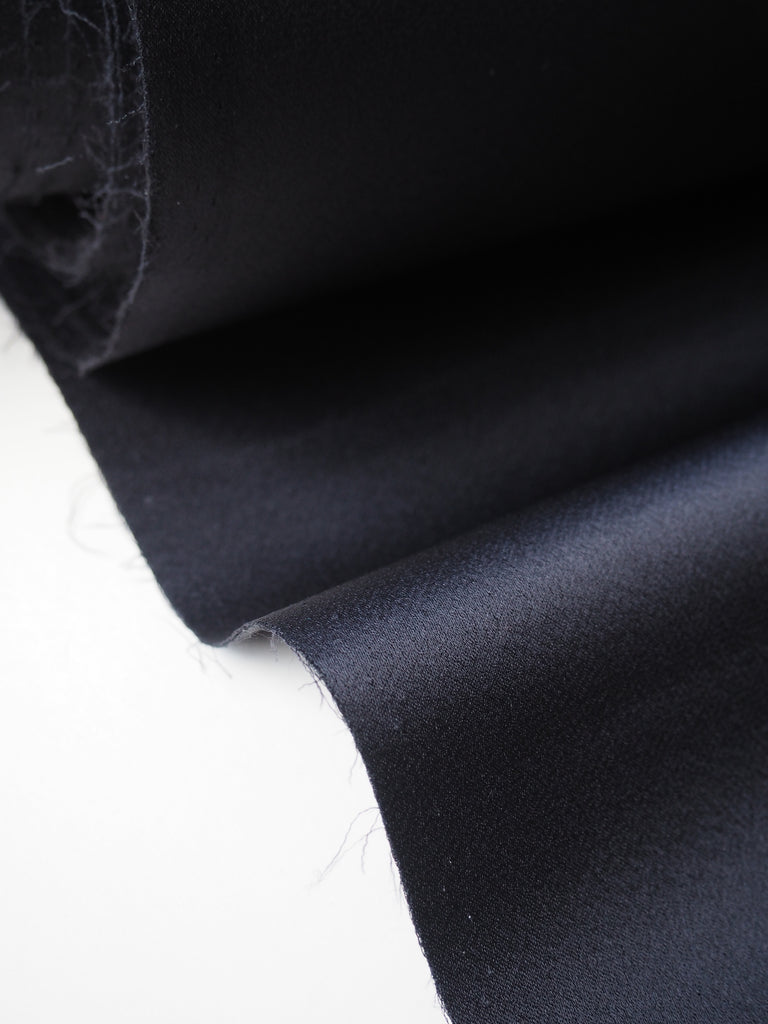 Midnight Viscose Double Satin Crepe