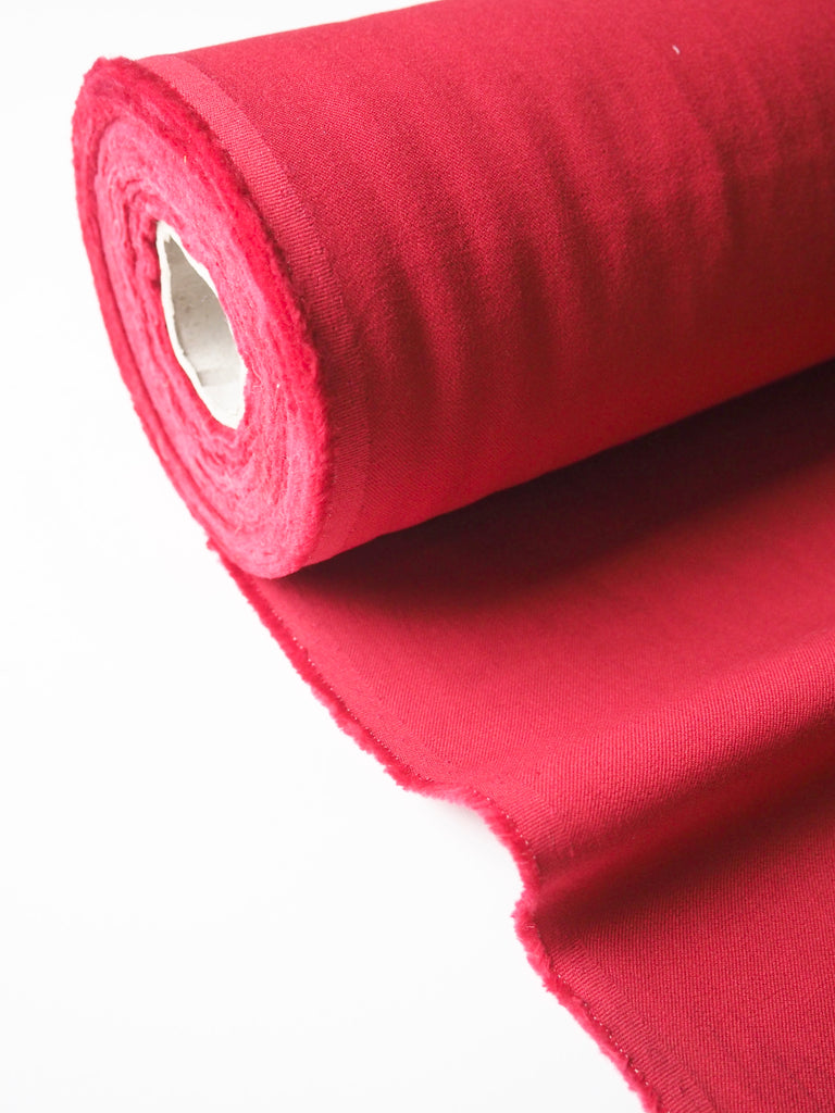 Red Stretch Cotton Twill