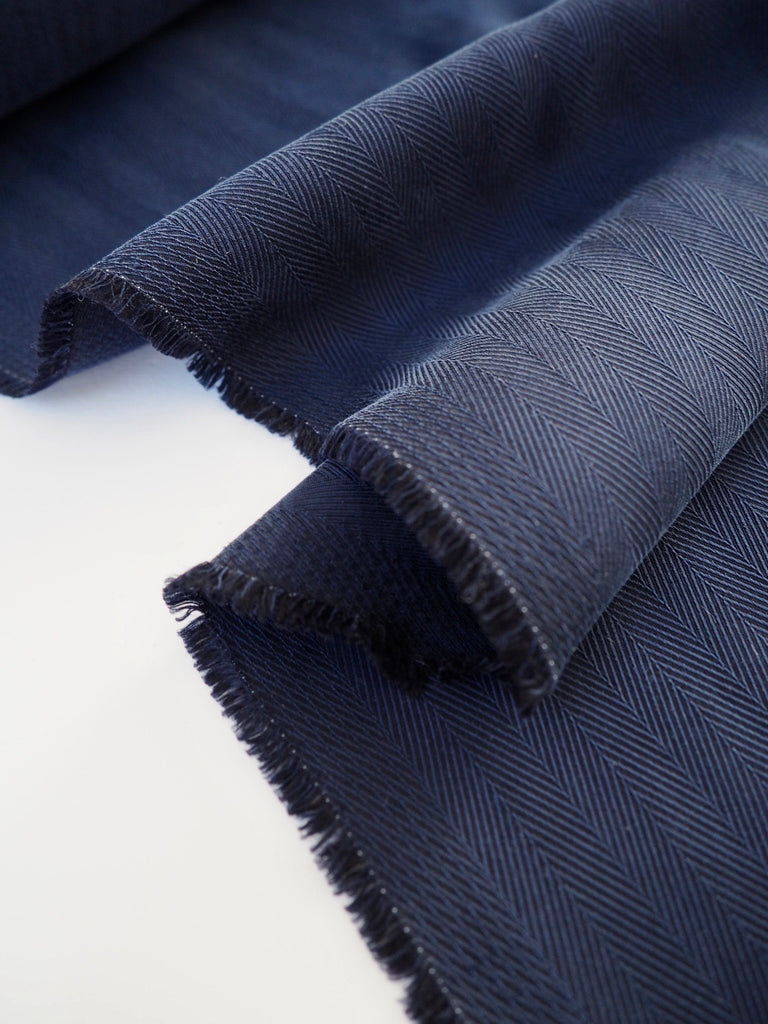 Dark Blue Heavy Sandwashed Herringbone Silk