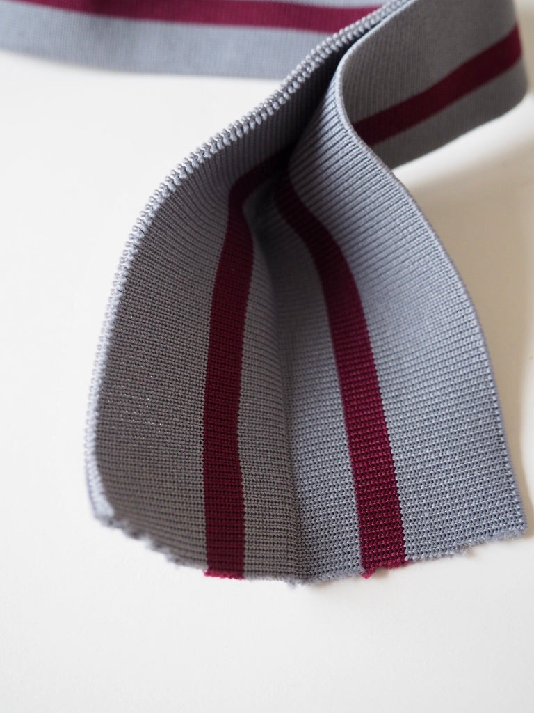Grey with a Burgundy Stripe Double Cuff 4cm