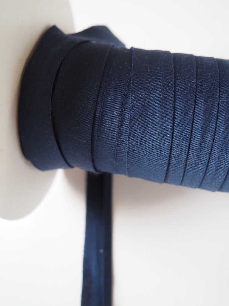 Navy Cotton Sateen Bias Binding 10mm