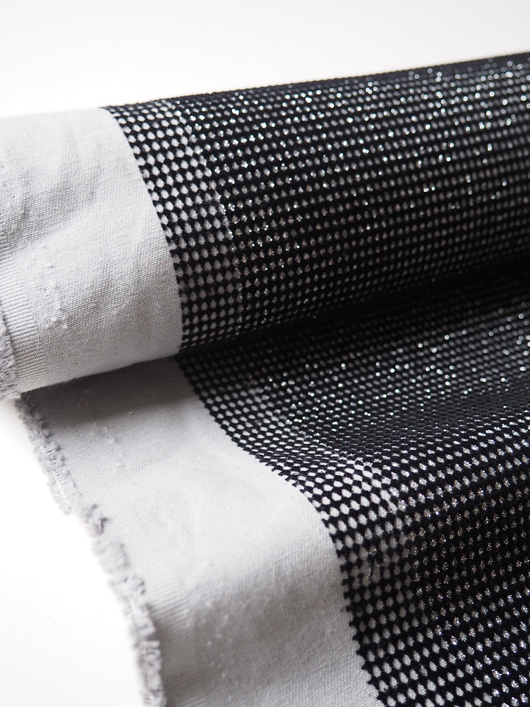 Black and Silver Velvet Flocked Cotton Twill