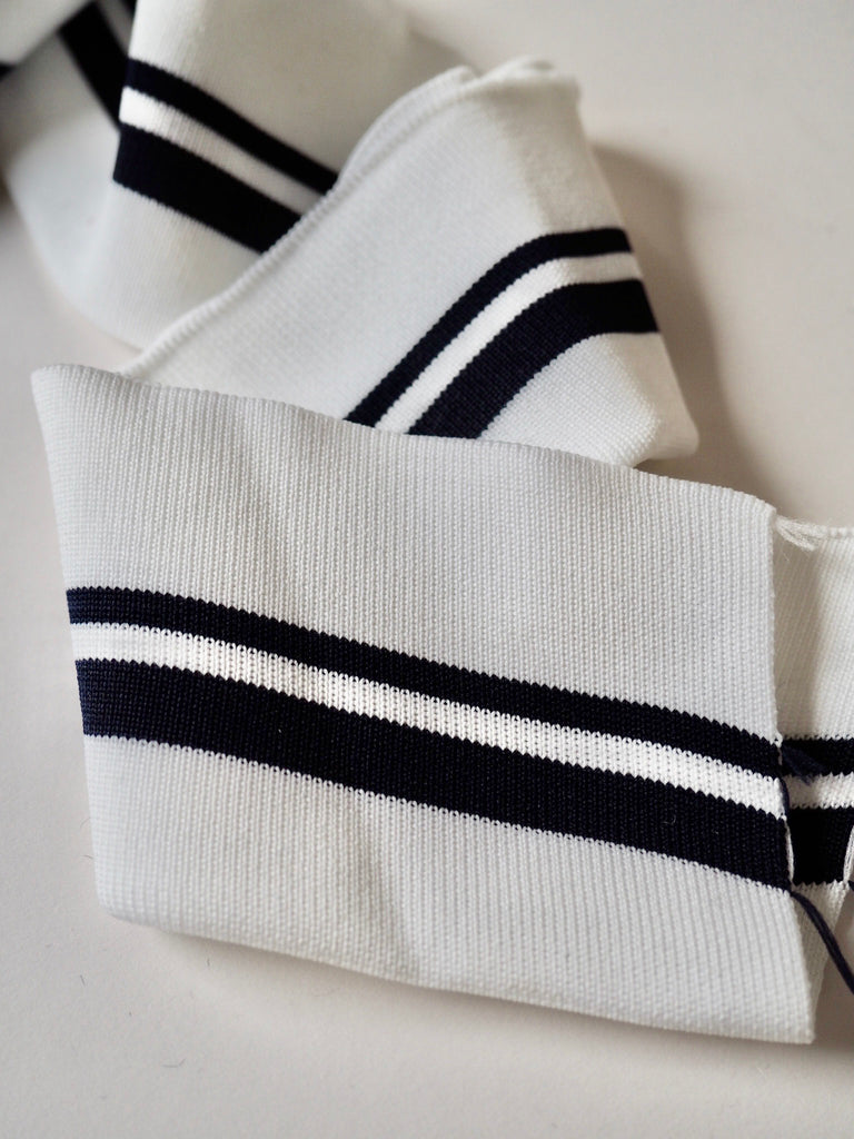 White and Navy Stripe Ribbed Doubled Cuff 7cm