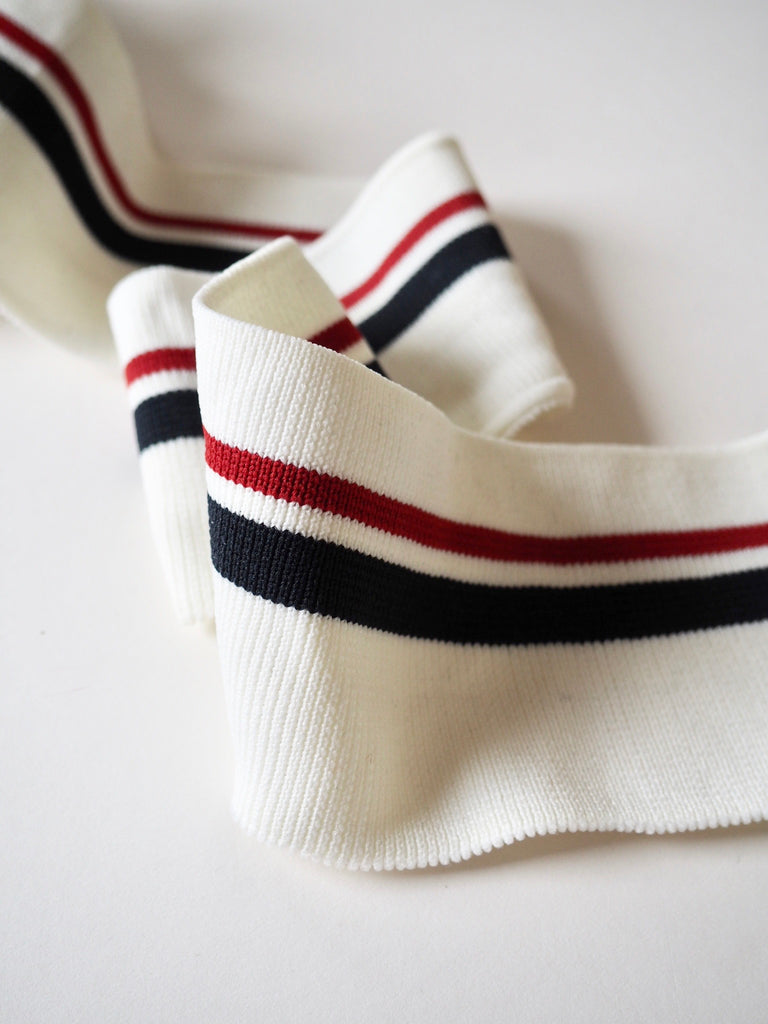 White with Navy and Red Stripe Cuff Ribbing 7.5cm