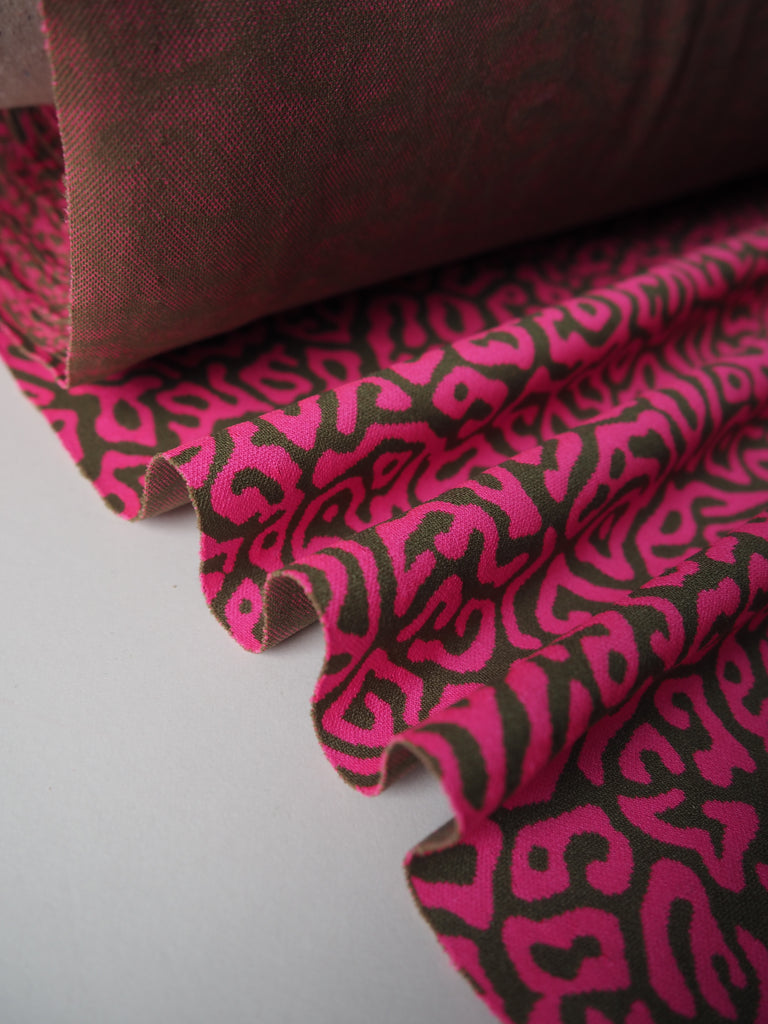 Neon Pink and Moss Squiggle Pique Jersey
