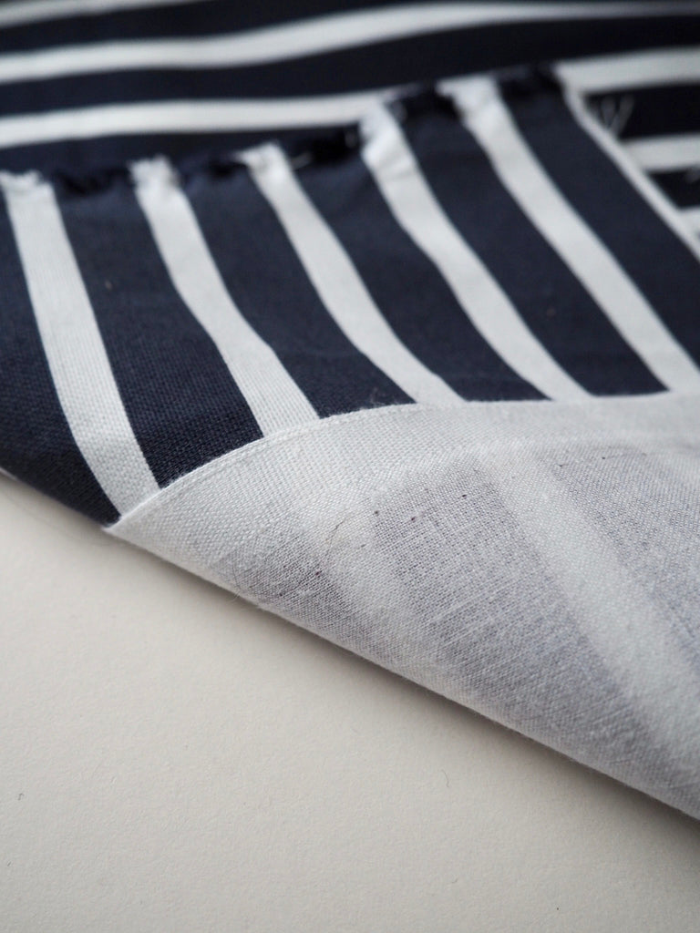 Blue and White Stripe Bonded Canvas