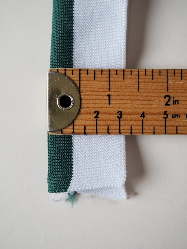 White with Green Stripe Double Cuff 3.25cm