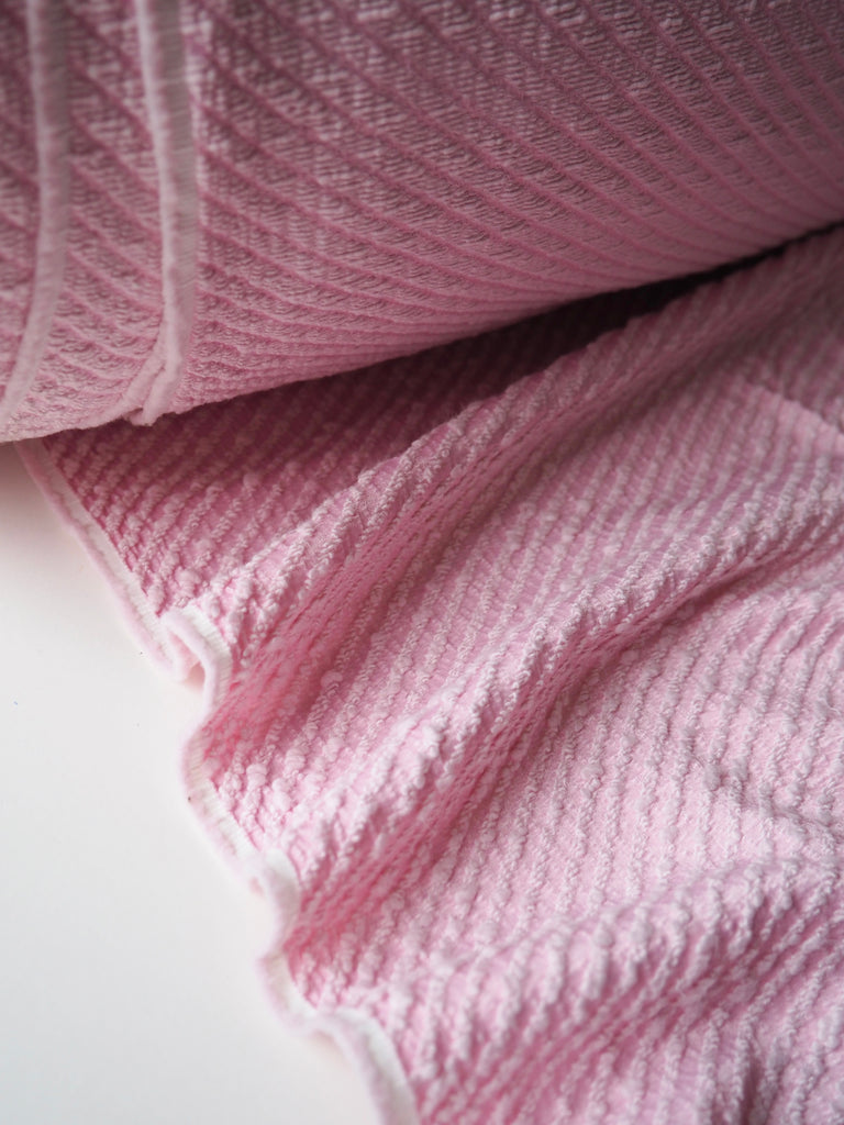 Candy Pink Cotton Bouclé Twill