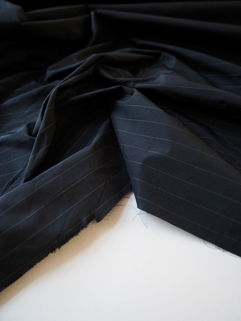 Black and White Pinstripe Paper Taffeta