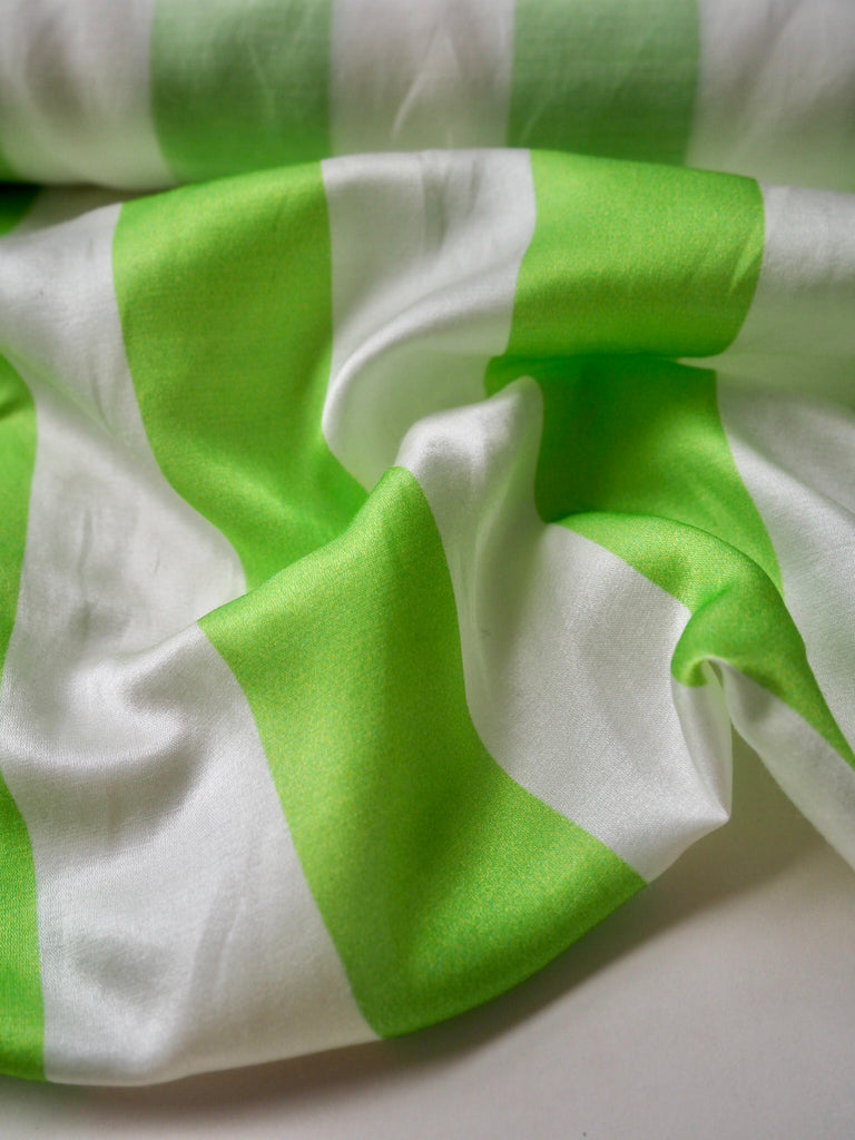 Green and White Stripe Cotton Silk