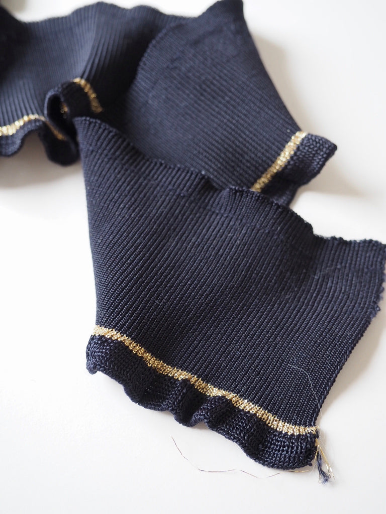 Navy and Gold Sparkle Stripe Ruffle Cuff 7.5cm