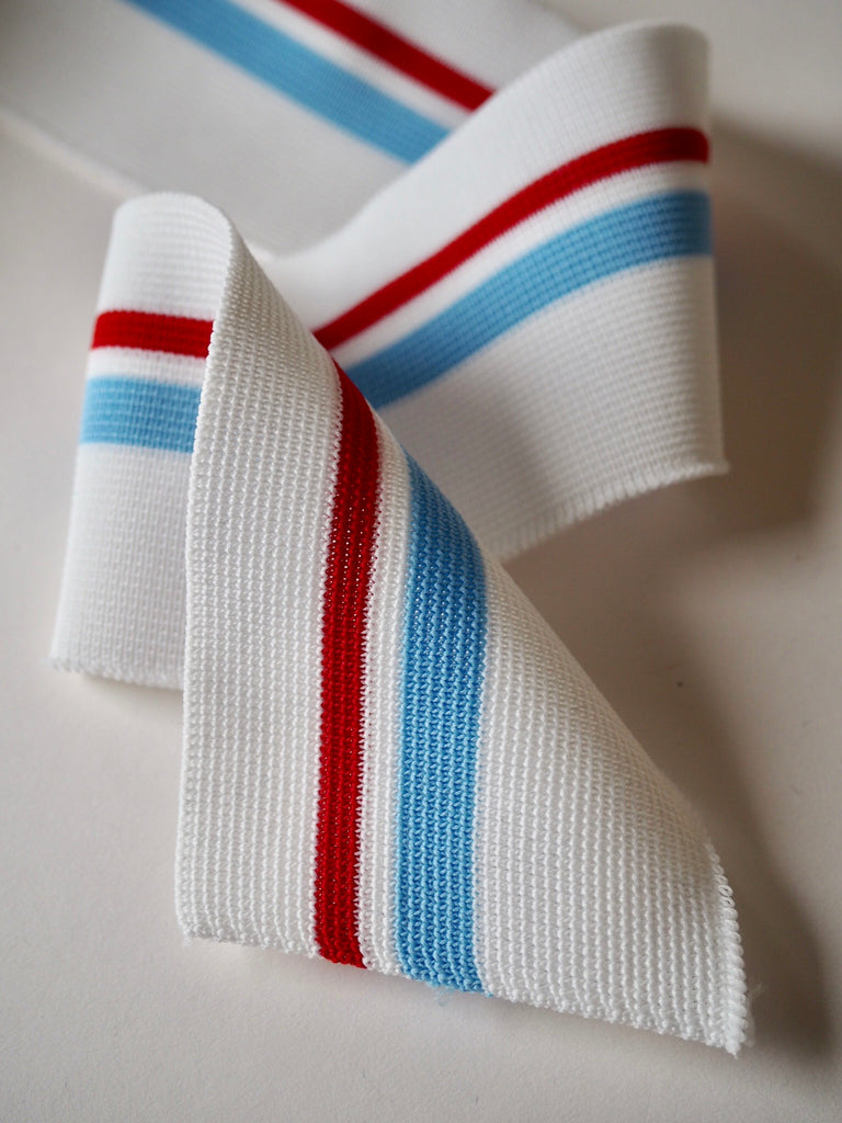 White with Red and Blue Stripe Ribbed Cuff 6.5cm