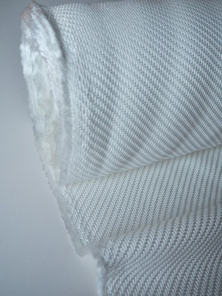 White Loose Weave Cotton Viscose Twill
