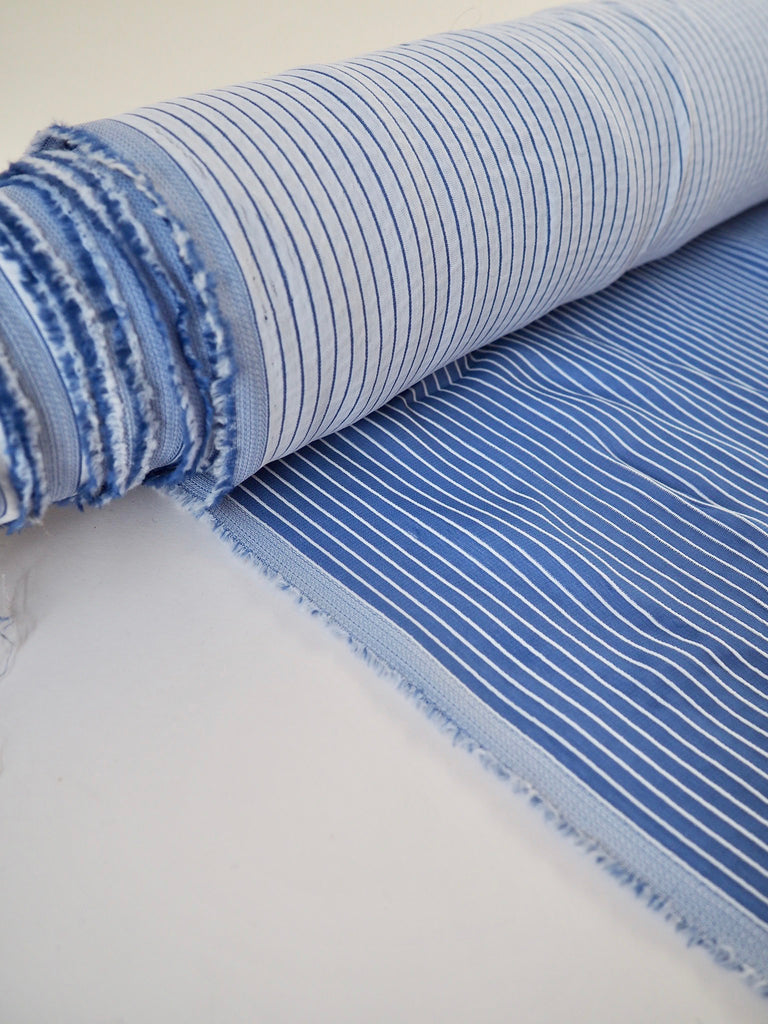 Blue and White Stripe Double Faced Viscose