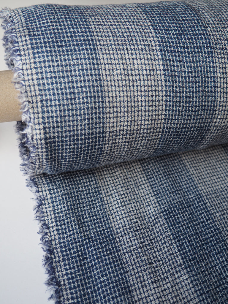 Blue Loose Weave Check Cotton