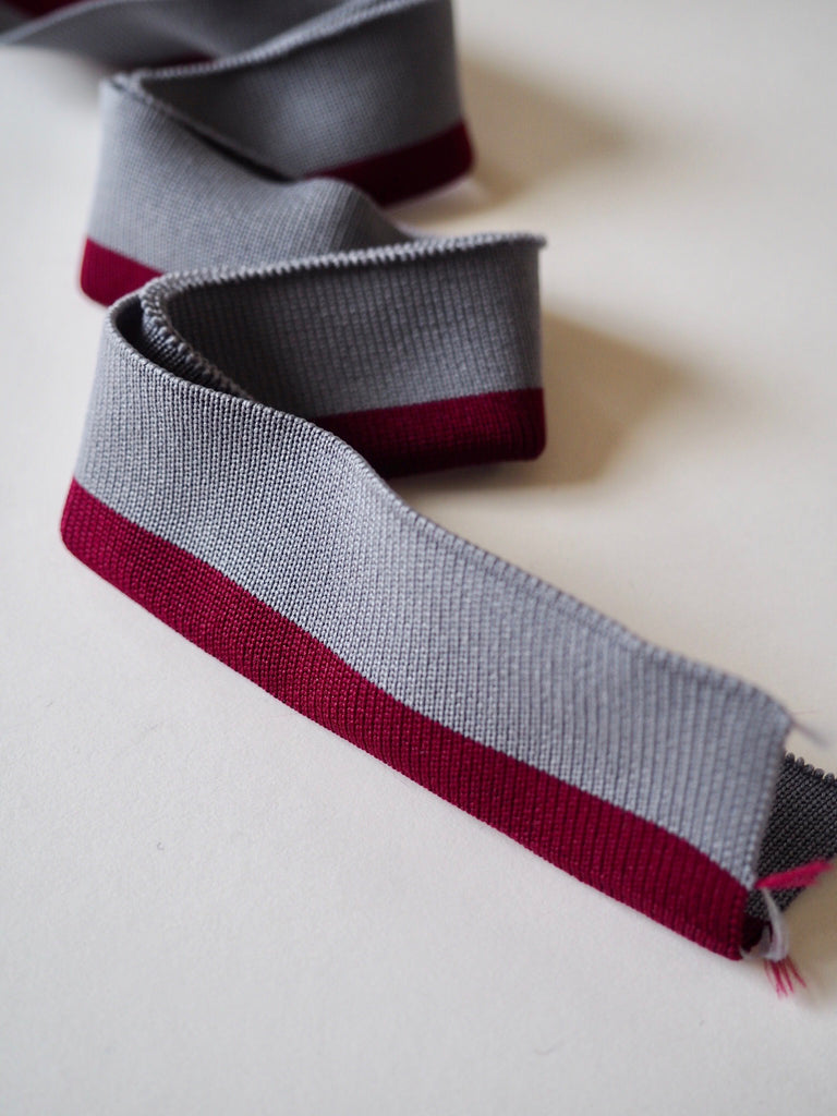 Grey with a Burgundy Stripe Double Cuff 3.25cm