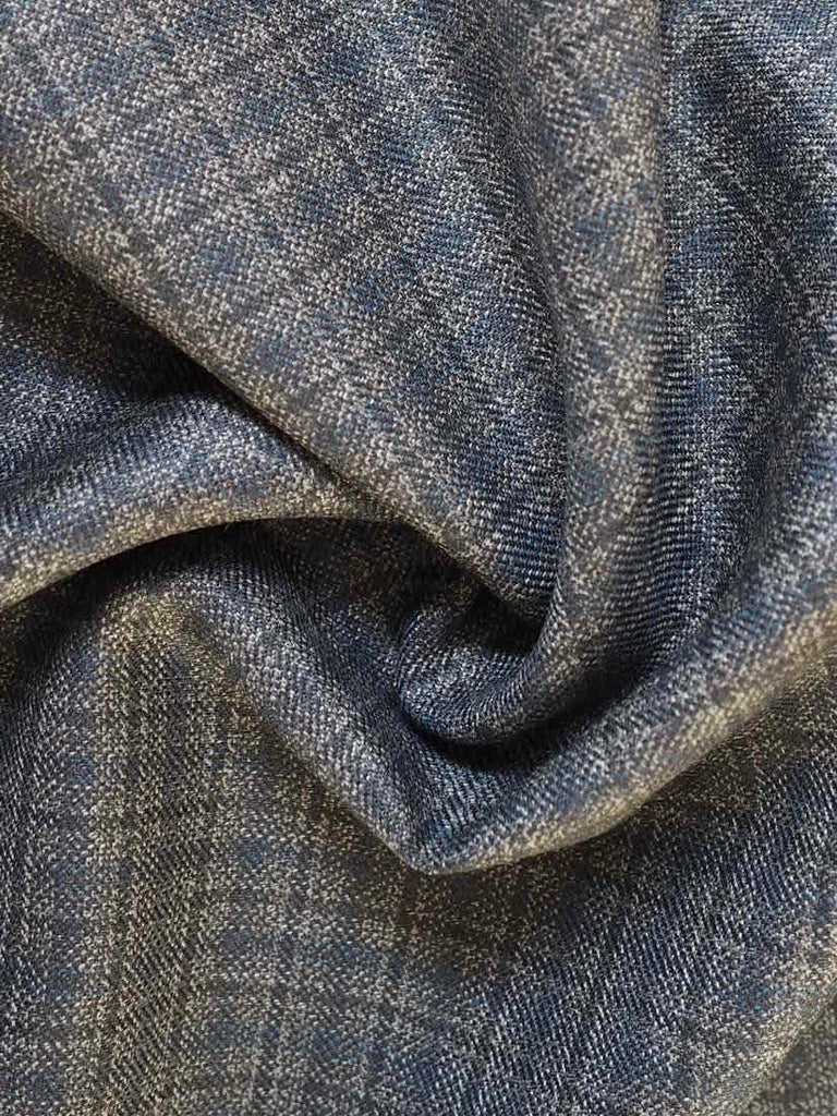 Blue and Grey Check Wool Suiting