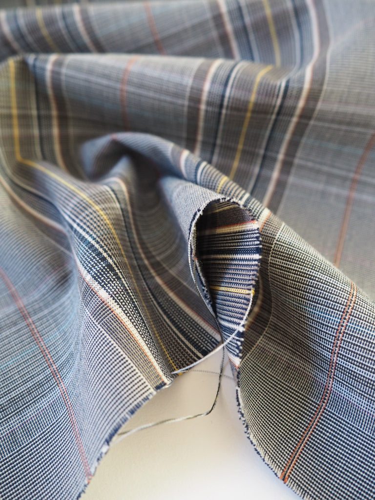 Grey Wool Check Stretch Suiting