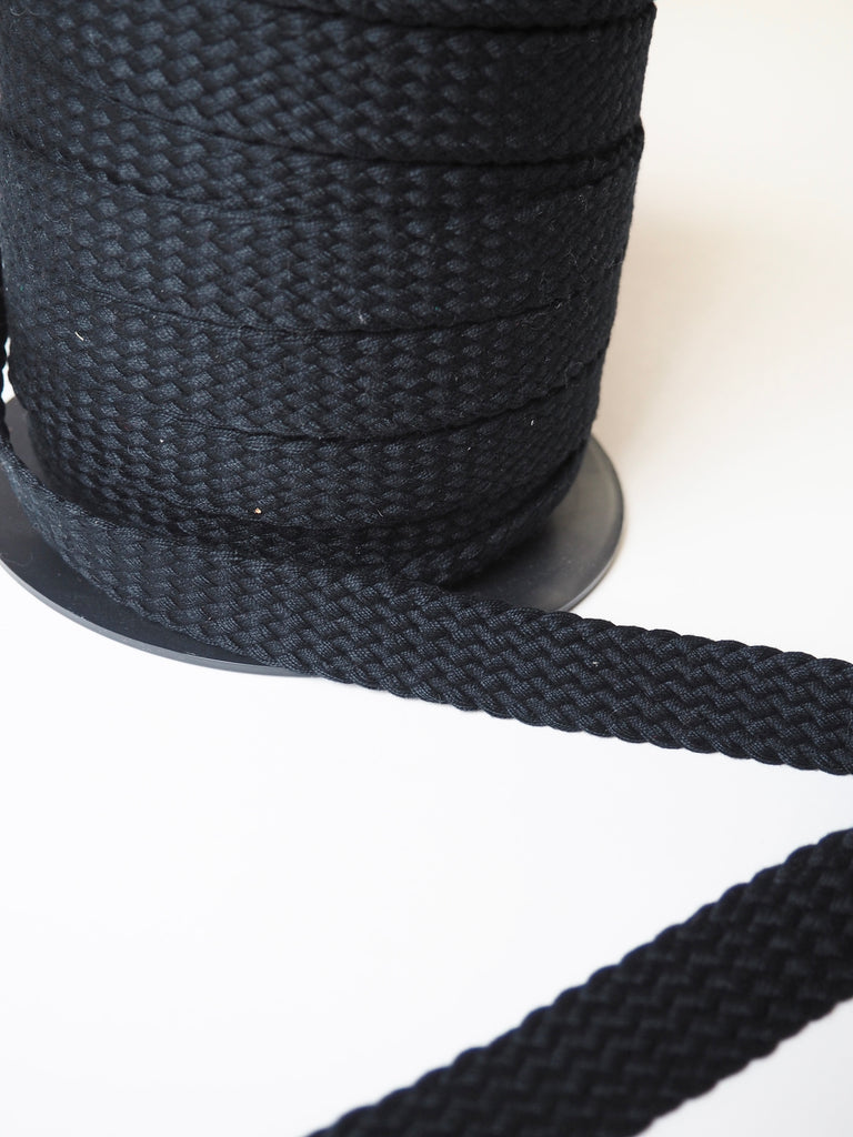 Black Braided Cotton Webbing 20mm