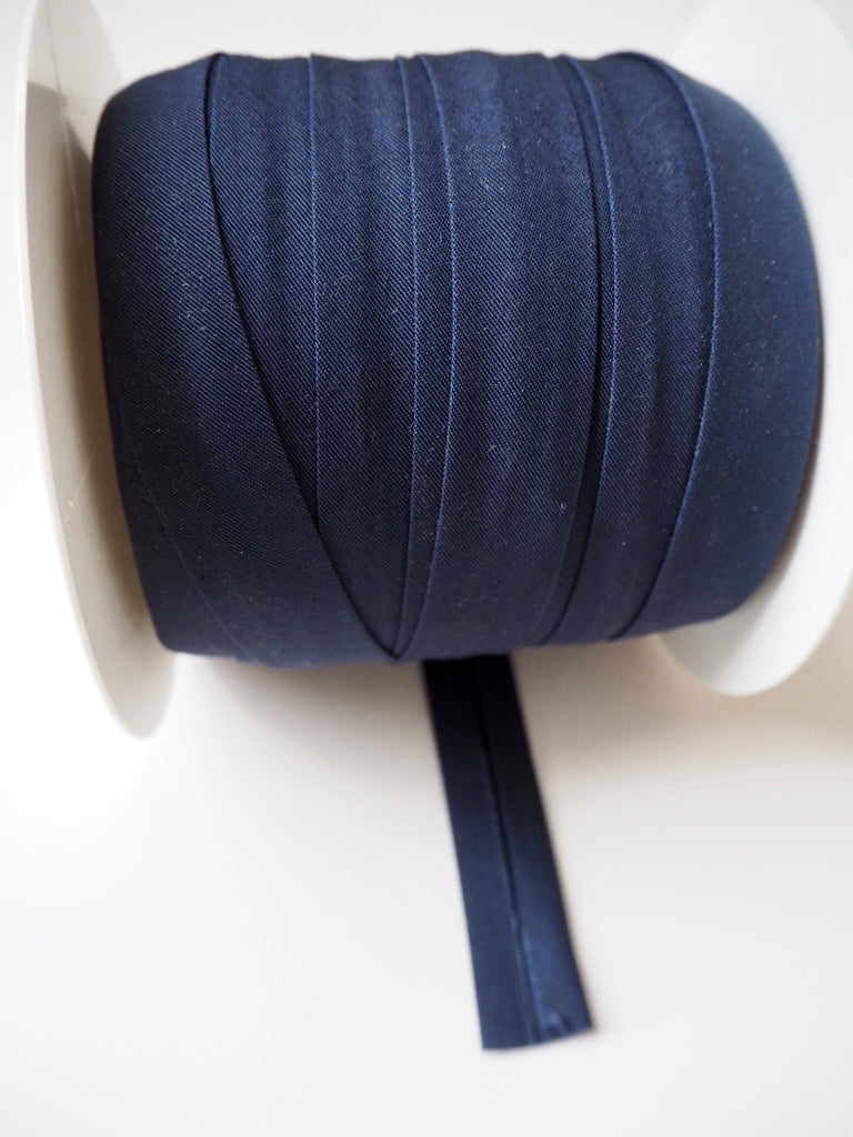 Navy Cotton Faille Bias Binding 20mm