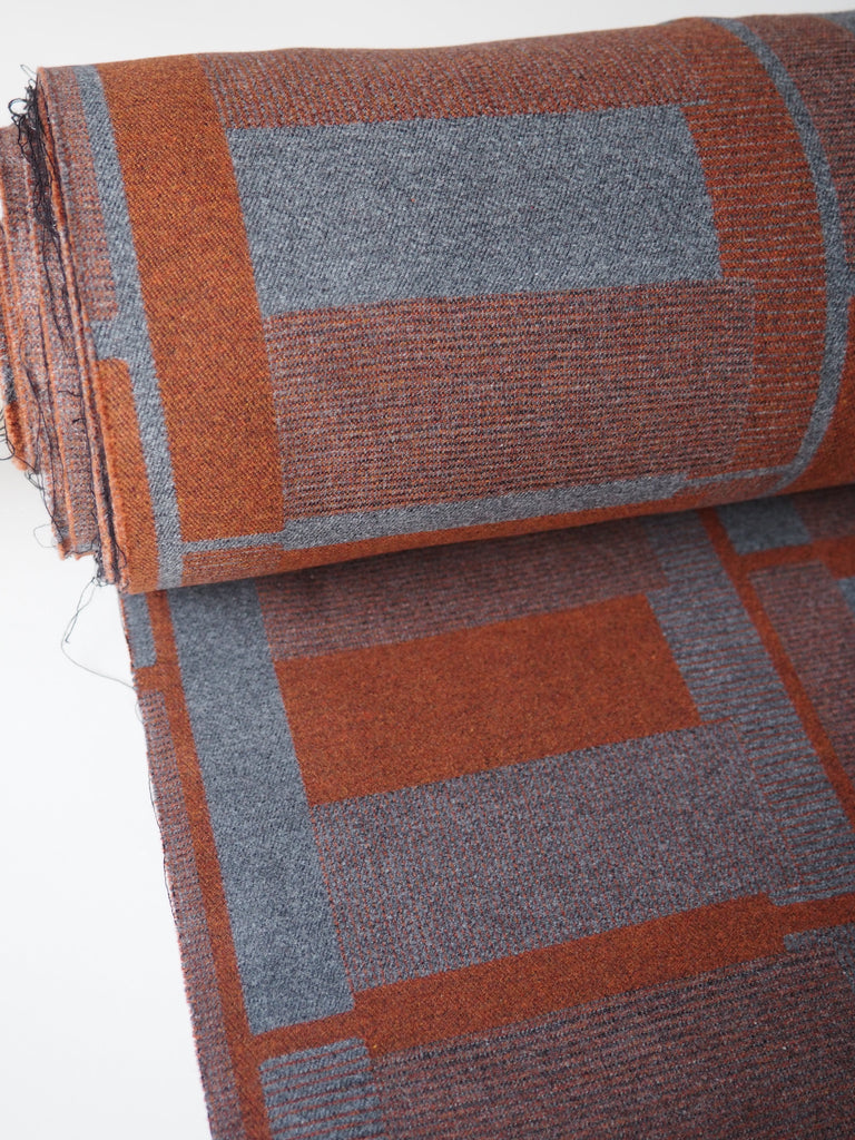 Burnt Orange Geometric Brushed Cotton Jacquard