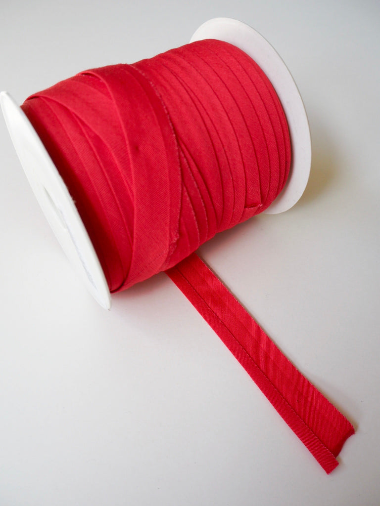 Red Cotton Faille Bias Binding 14mm