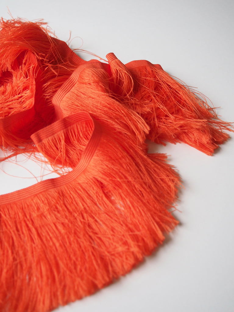 Flame Orange Feather Fringe Trim 10cm