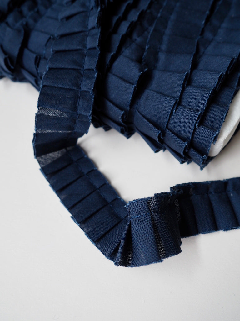 Navy Pleated Ruffle Trim