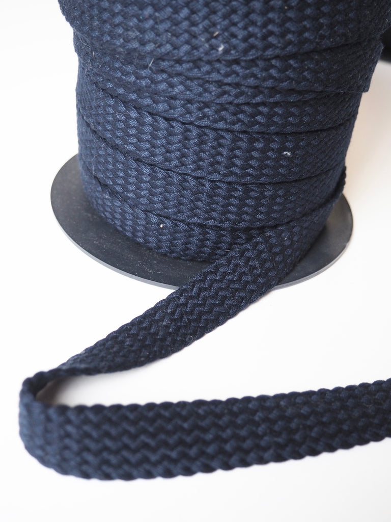 Navy Braided Cotton Webbing 20mm