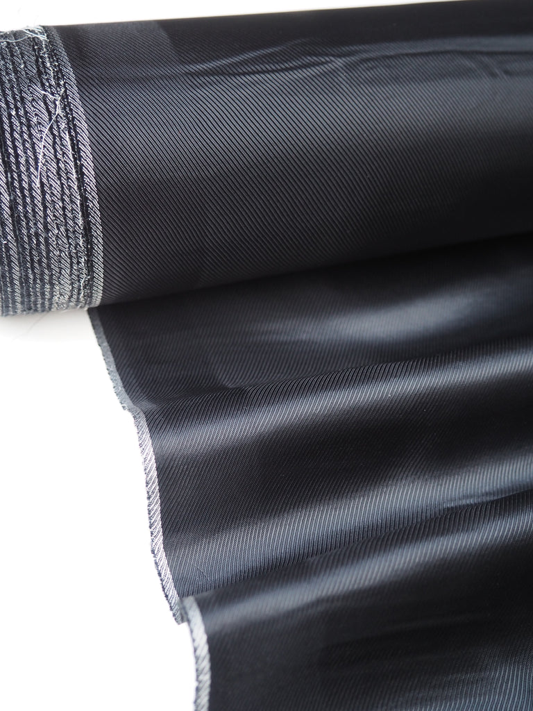 Black Heavy Satin Twill Viscose Lining