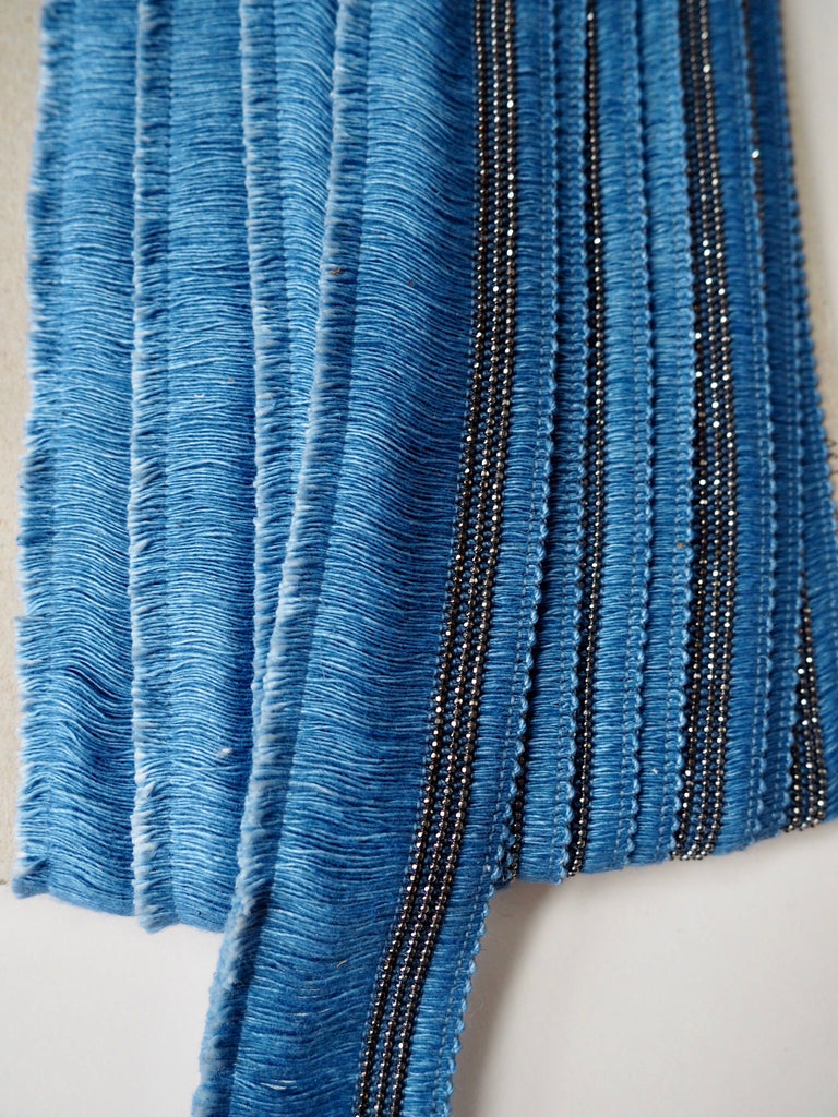 Blue Beaded Fringing Tassel Trim